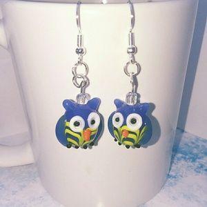 HANDMADE GLASS OWL EARRINGS